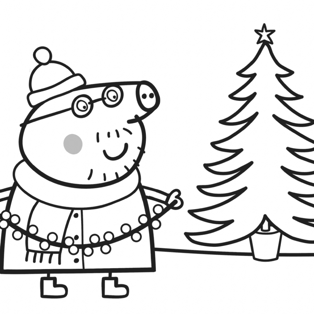 Christmas In July Coloring Book With Daddy Pig Decorates Xmas Tree Page Free Printable