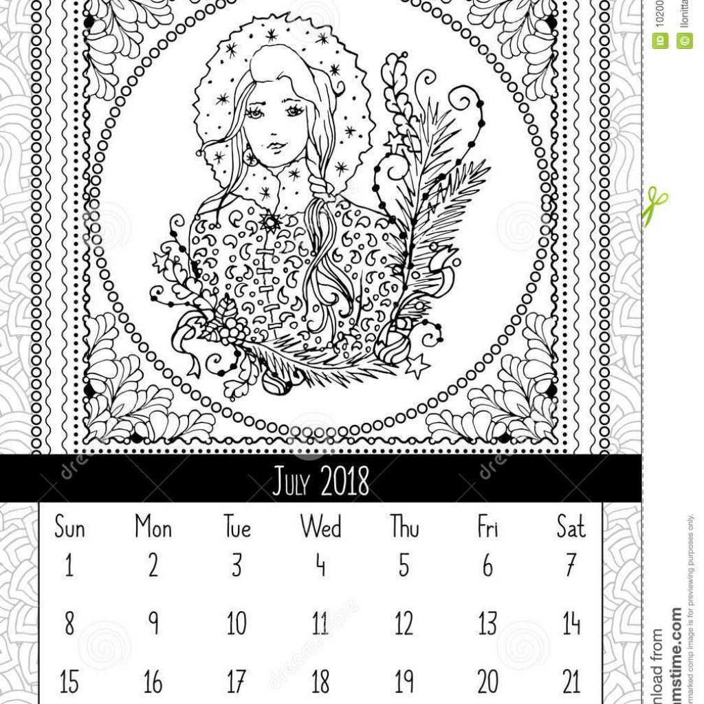 Christmas In July Coloring Book With Snow Maiden Page Calendar 2018 Stock Vector