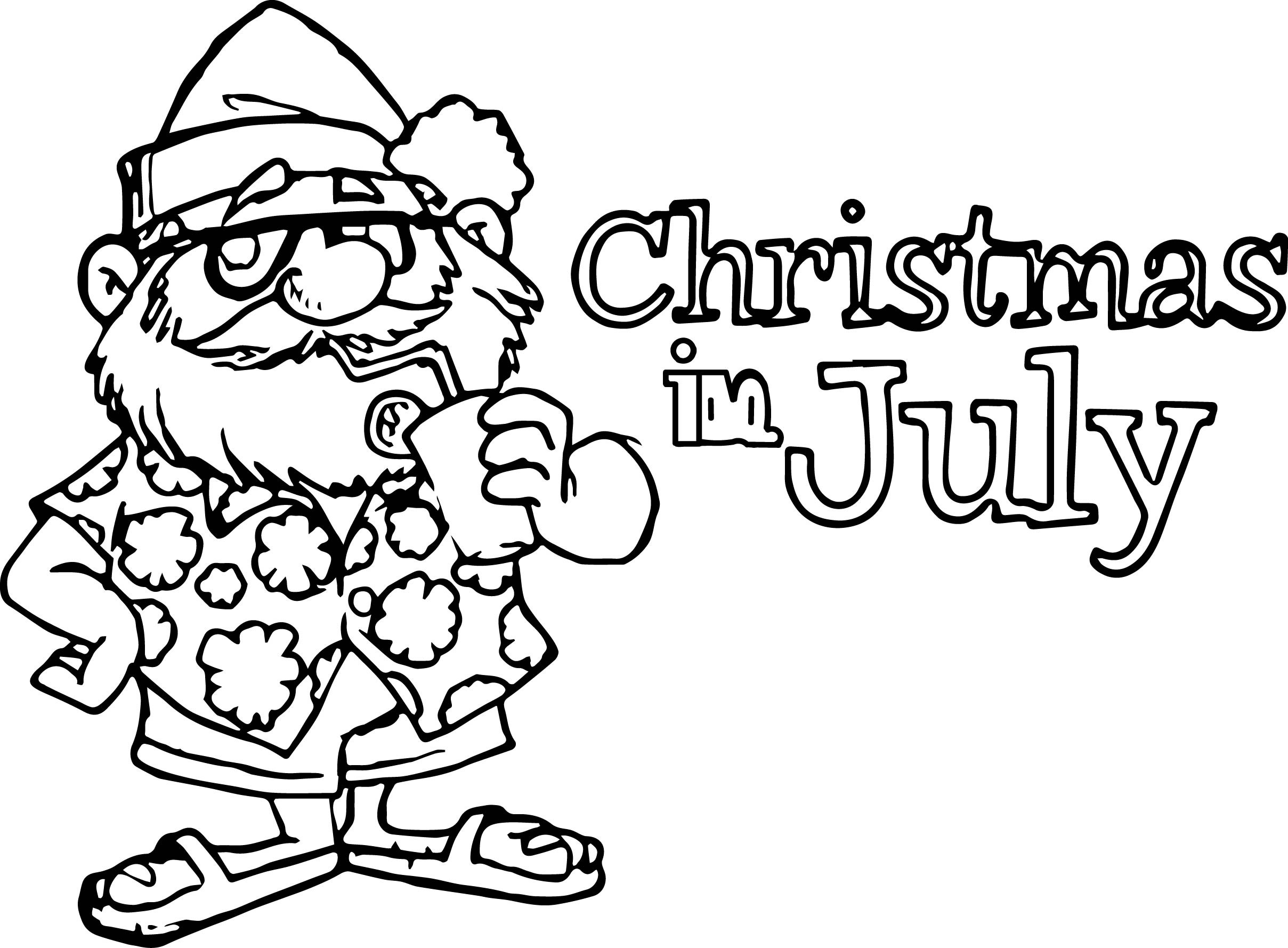 Christmas In July Coloring Pages With Printable Page For Kids