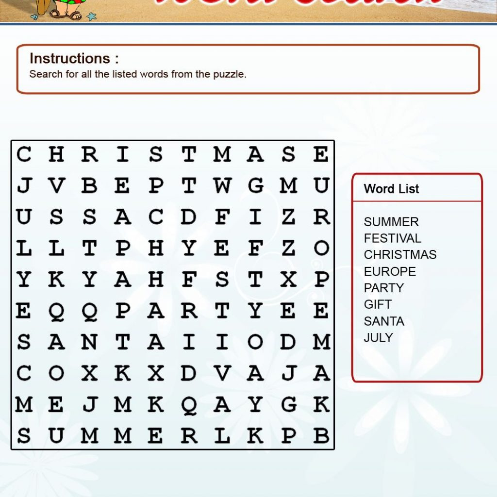 Christmas In July Coloring With Activities Color Word Search