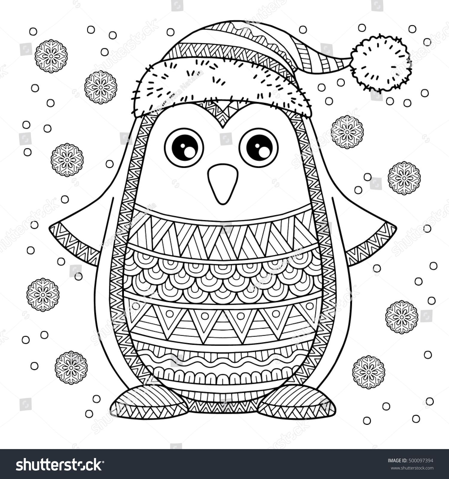 Christmas Intricate Coloring Pages With Merry Jolly Penguin The Detailed For
