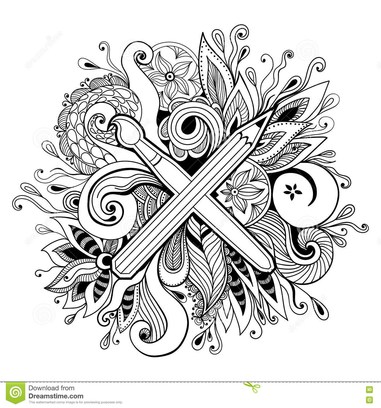 Christmas Kaleidoscope Coloring Pages With Black And White Hand Drawn Abstract Vector Illustration