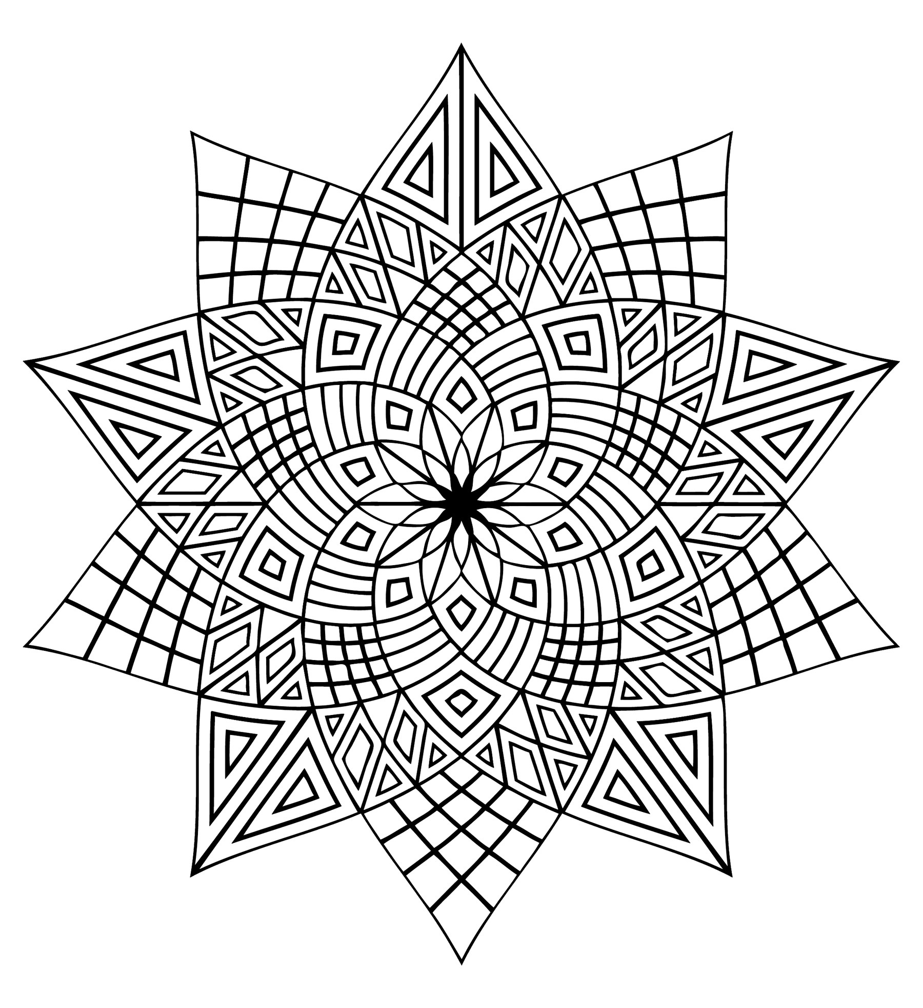 Christmas Kaleidoscope Coloring Pages With New