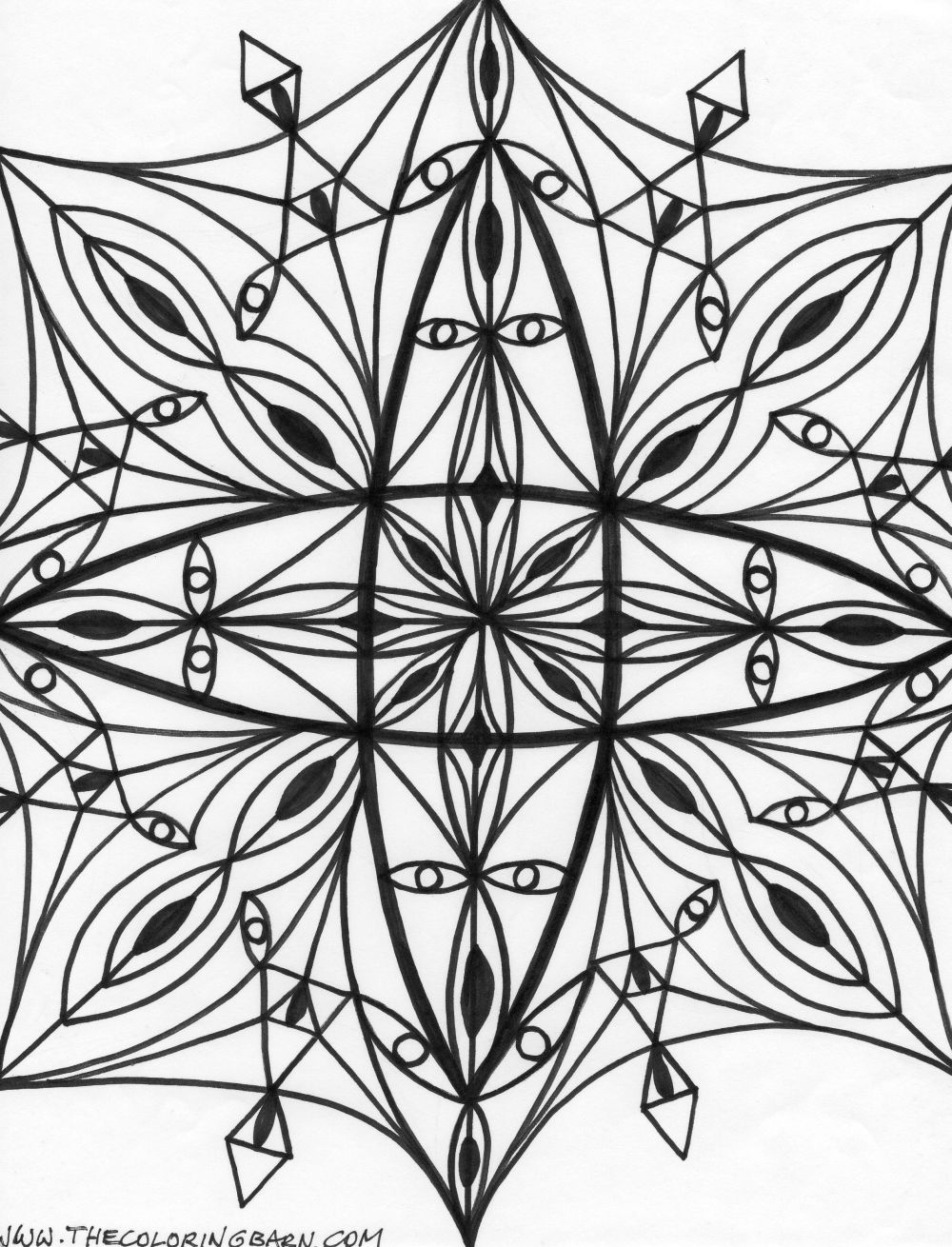 Christmas Kaleidoscope Coloring Pages With