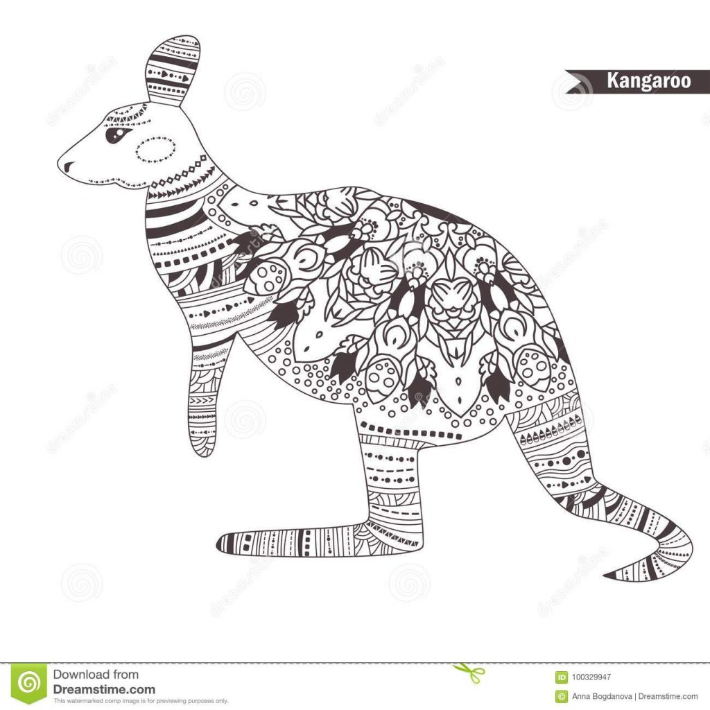 Christmas Kangaroo Coloring Page With Book Stock Vector Illustration Of Doodle 100329947