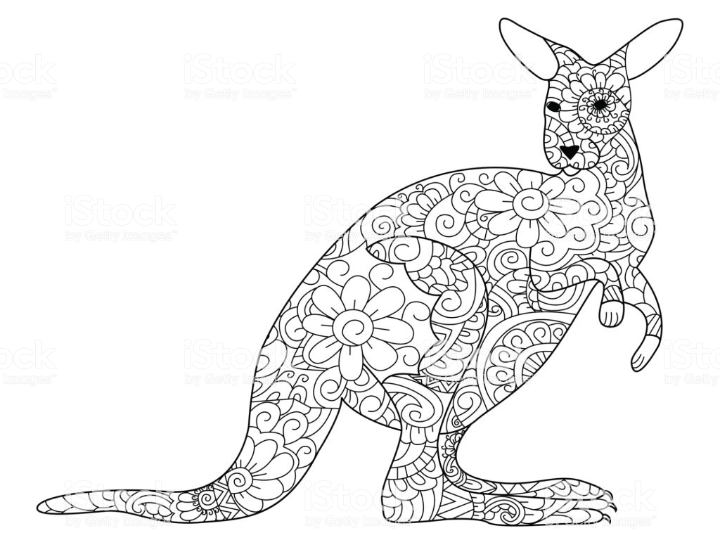 Christmas Kangaroo Coloring Page With Book Vector For Adults Stock Art More