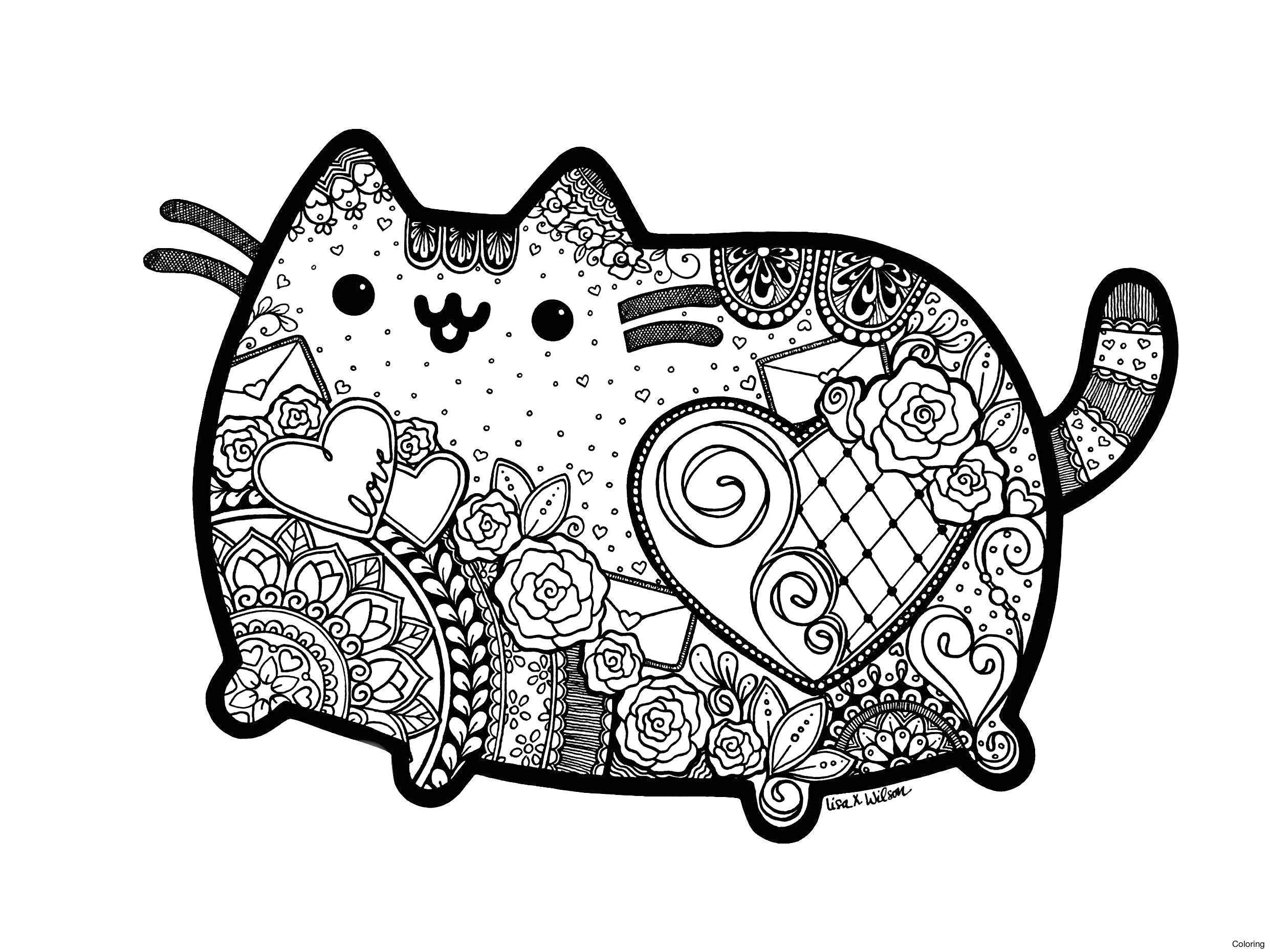 Christmas Kawaii Coloring With Cat Pages