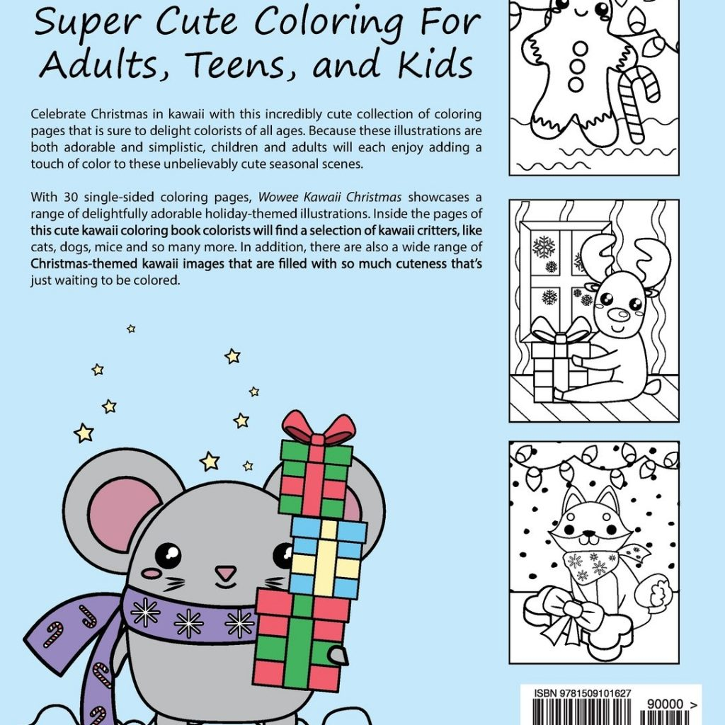 Christmas Kawaii Coloring With Wowee Book Super Cute For Adults