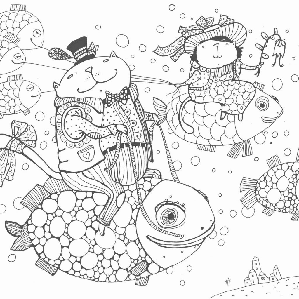 Christmas Kitten Coloring Pages With Cat And Free