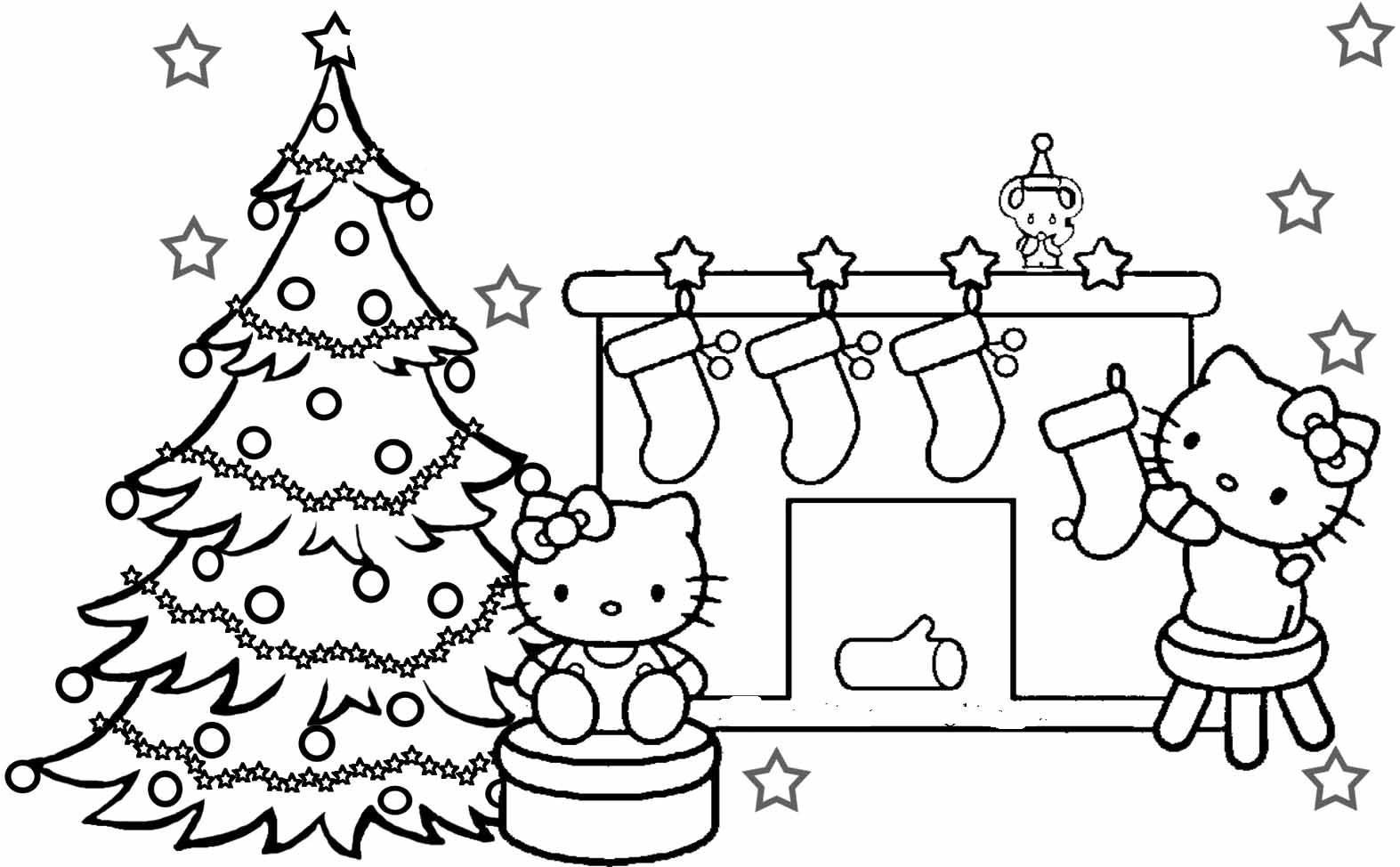 Christmas Kitten Coloring Pages With Hello Kitty To Print Great OwlGalliz