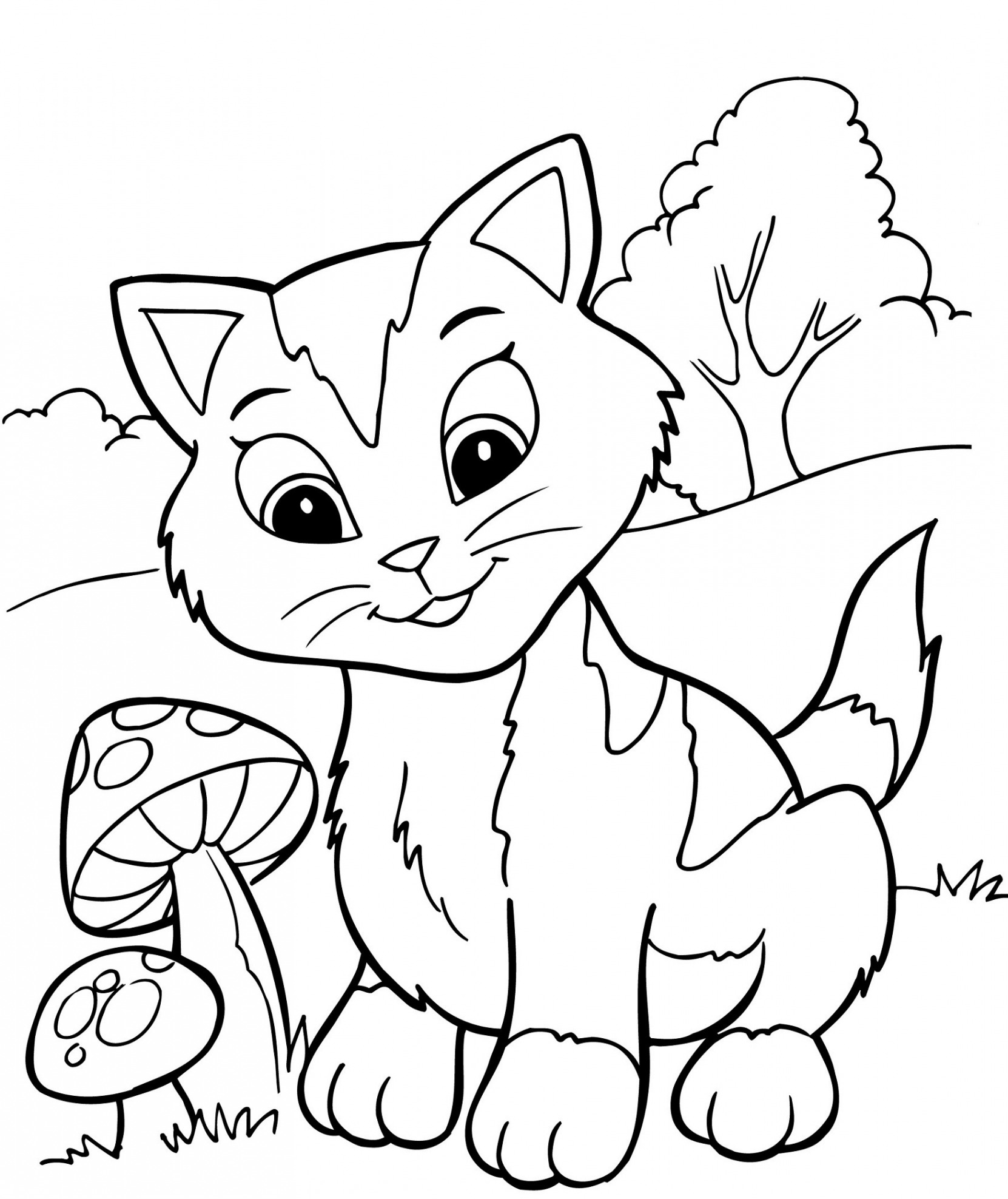 Christmas Kitten Coloring Pages With Kittens Printable Free