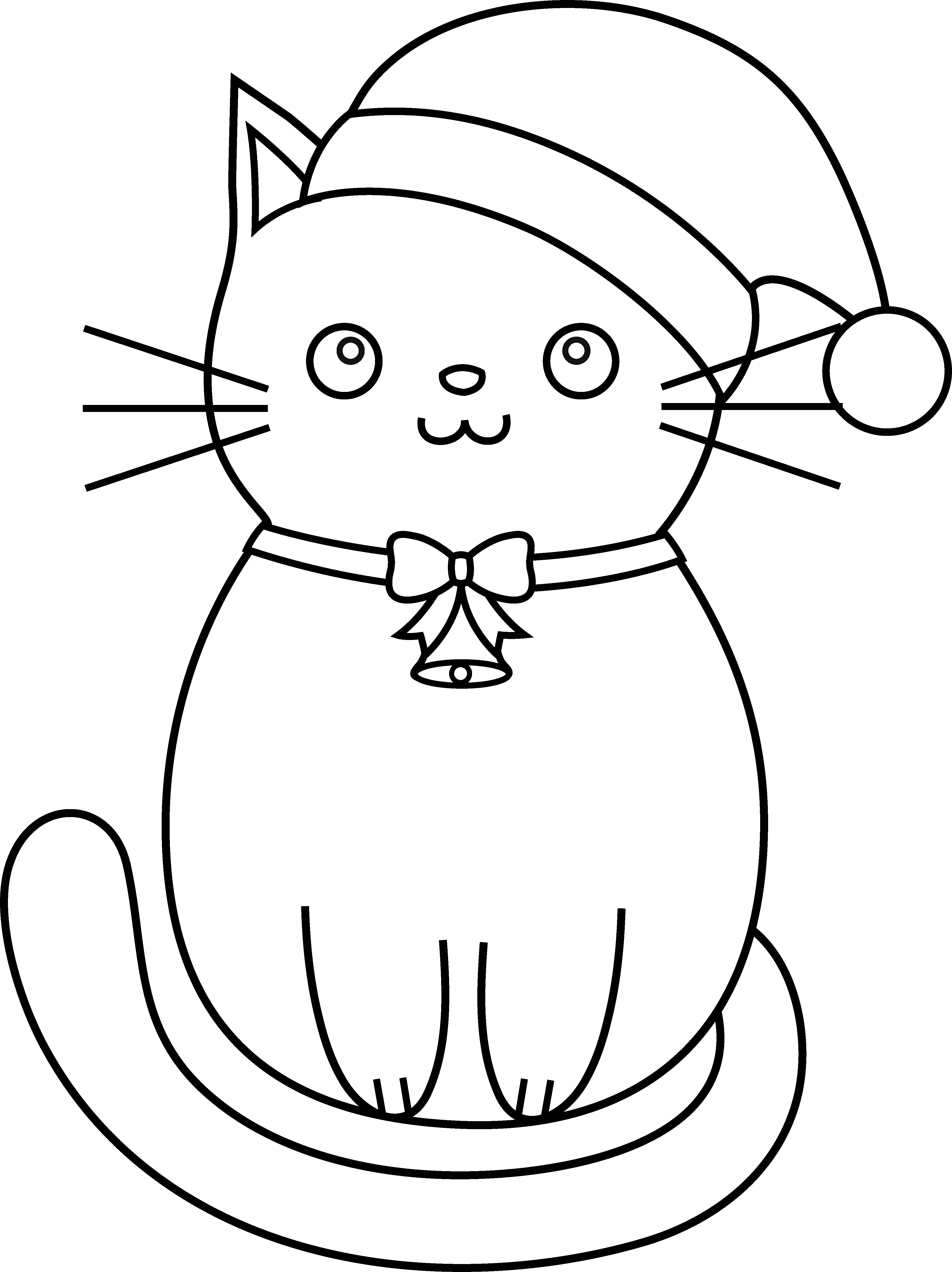 Christmas Kitten Coloring Pages With Kitty Line Art Animals Cats Pinterest