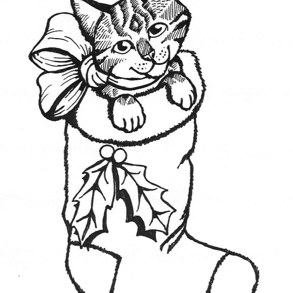 Christmas Kitten Coloring Pages With Marvelous Kitty Murderthestout Pics Of