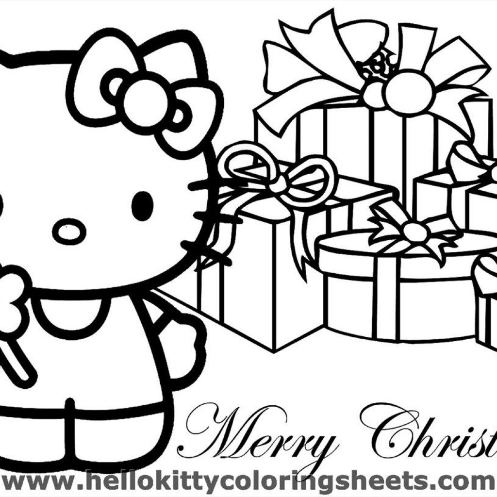 Christmas Kitten Coloring Pages With Sheets You Can Print Sheet Hello Kitty