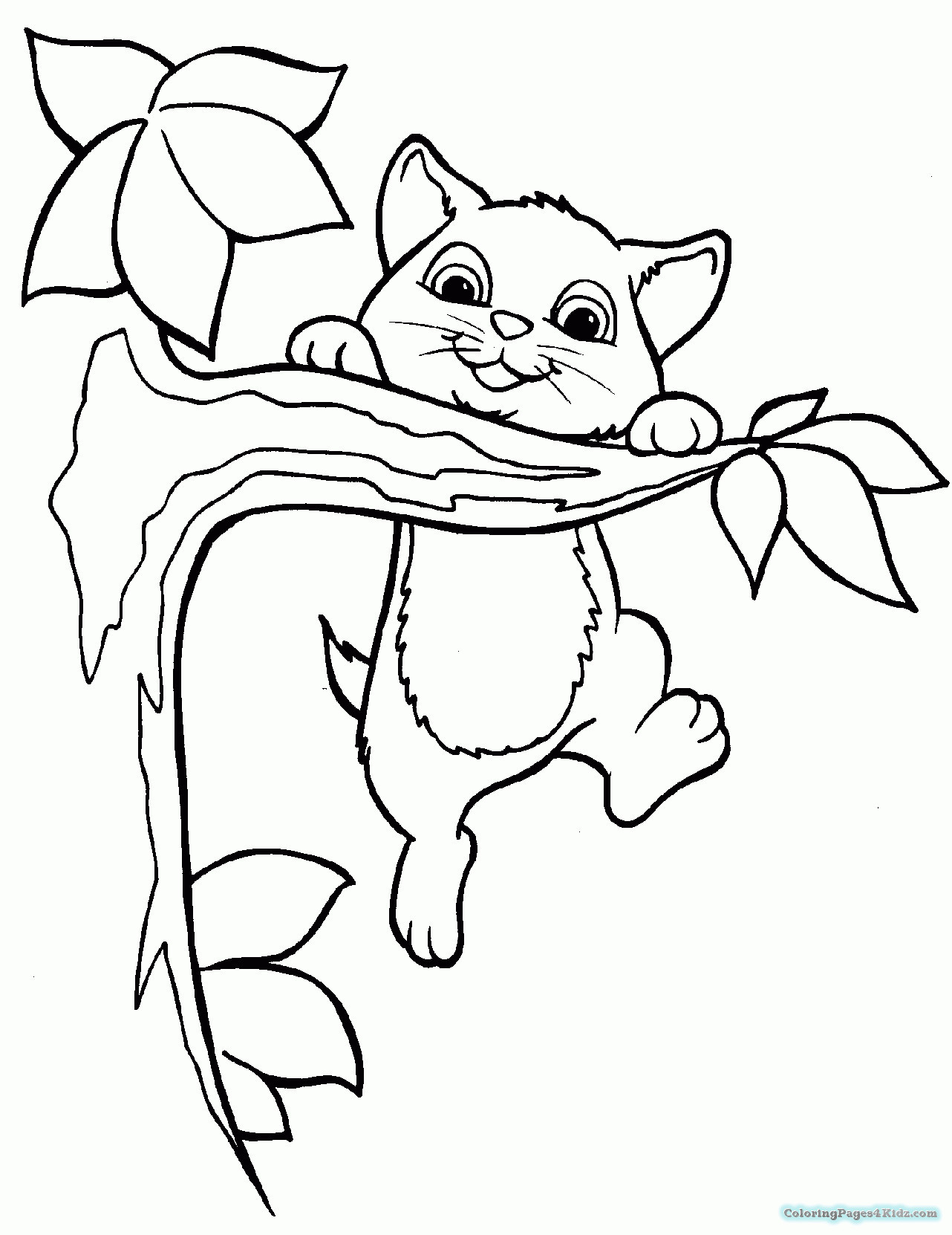 Christmas Kitten Coloring Pages With To Print Real Kittens Fresh