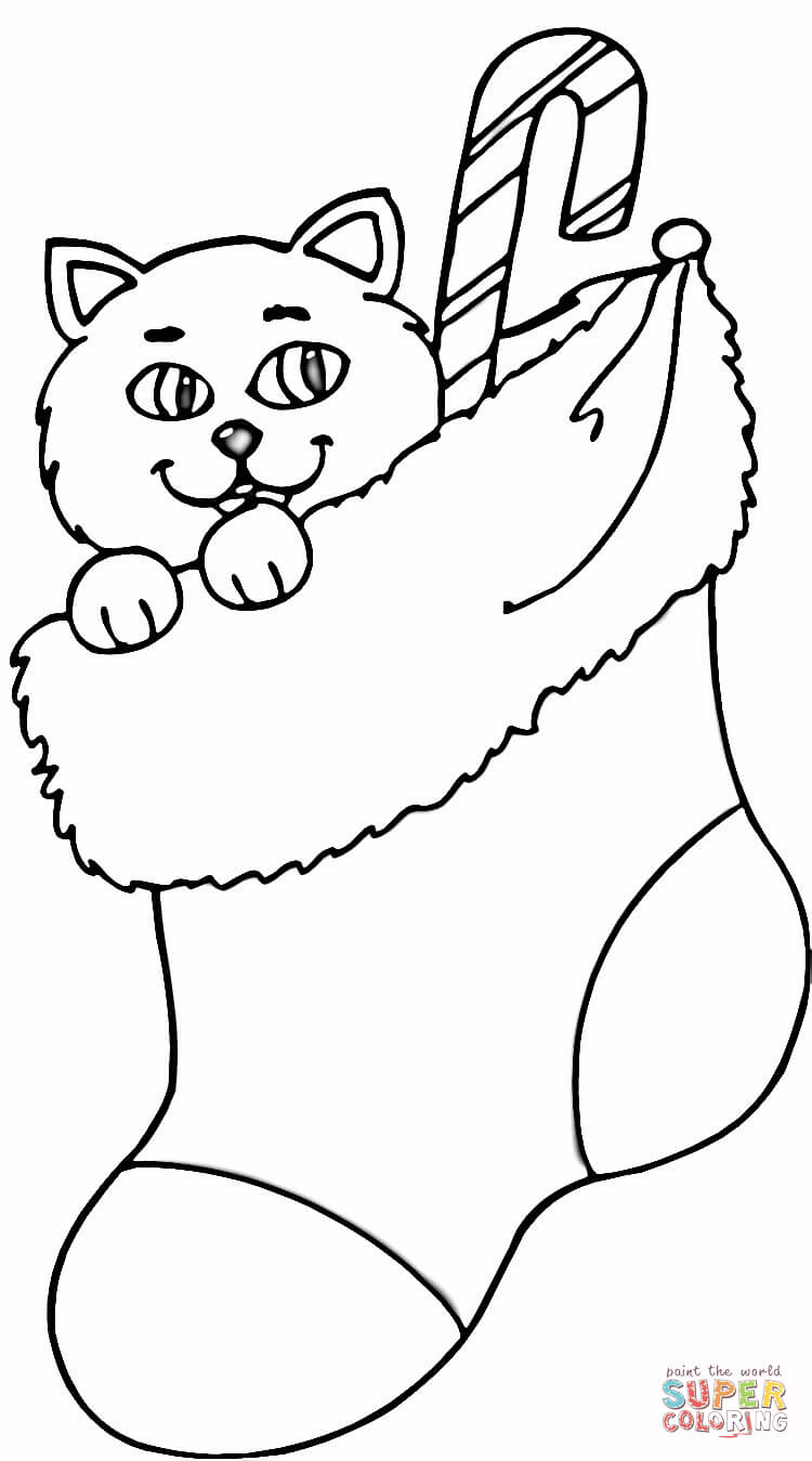 Christmas Kitten Coloring Sheets With Cat In Stocking Page Free Printable Pages