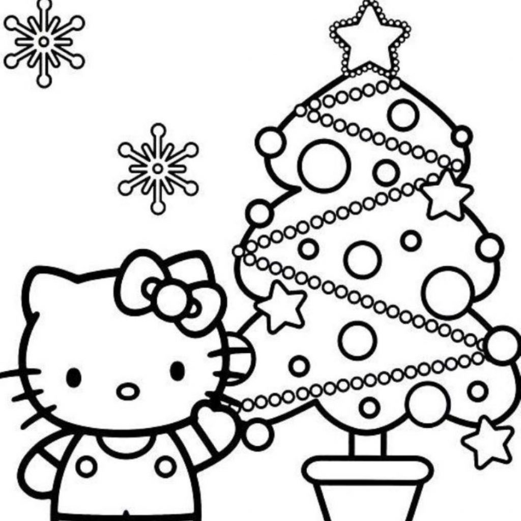 Christmas Kitten Coloring Sheets With Download And Print Hello Kitty Pages Tree