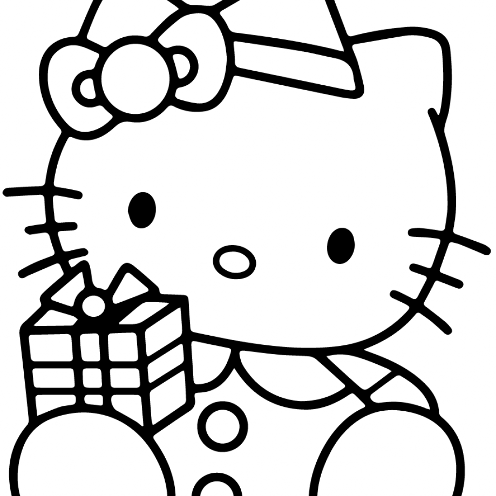 Christmas Kitten Coloring Sheets With Hello Kitty Gift Box Page Free Printable
