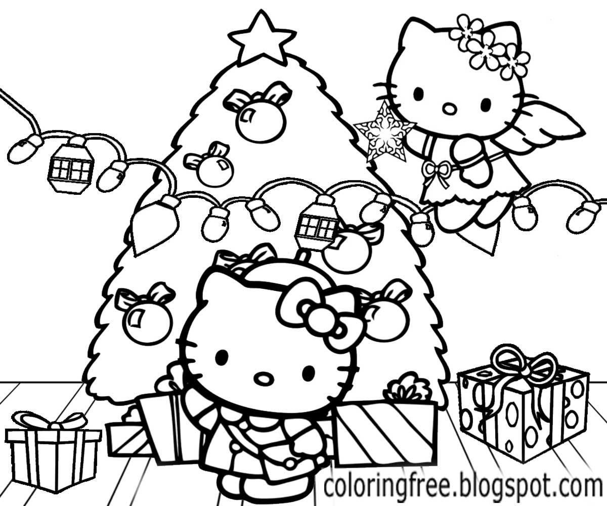 Christmas Kitten Coloring Sheets With LETS COLORING BOOK Hello Kitty Free Cute Printables