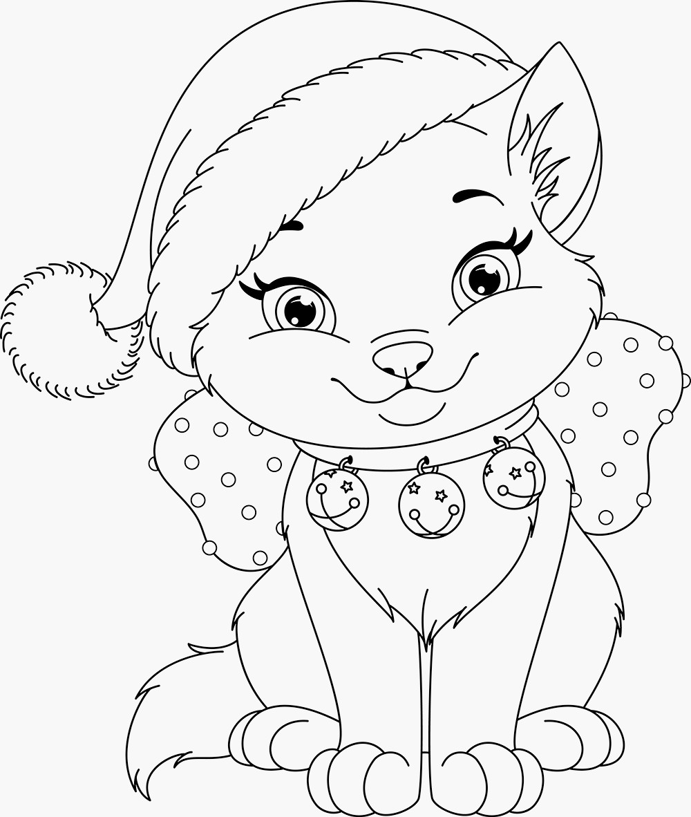 Christmas Kitten Coloring Sheets With Presents Pages 54 Perfect Free Printable