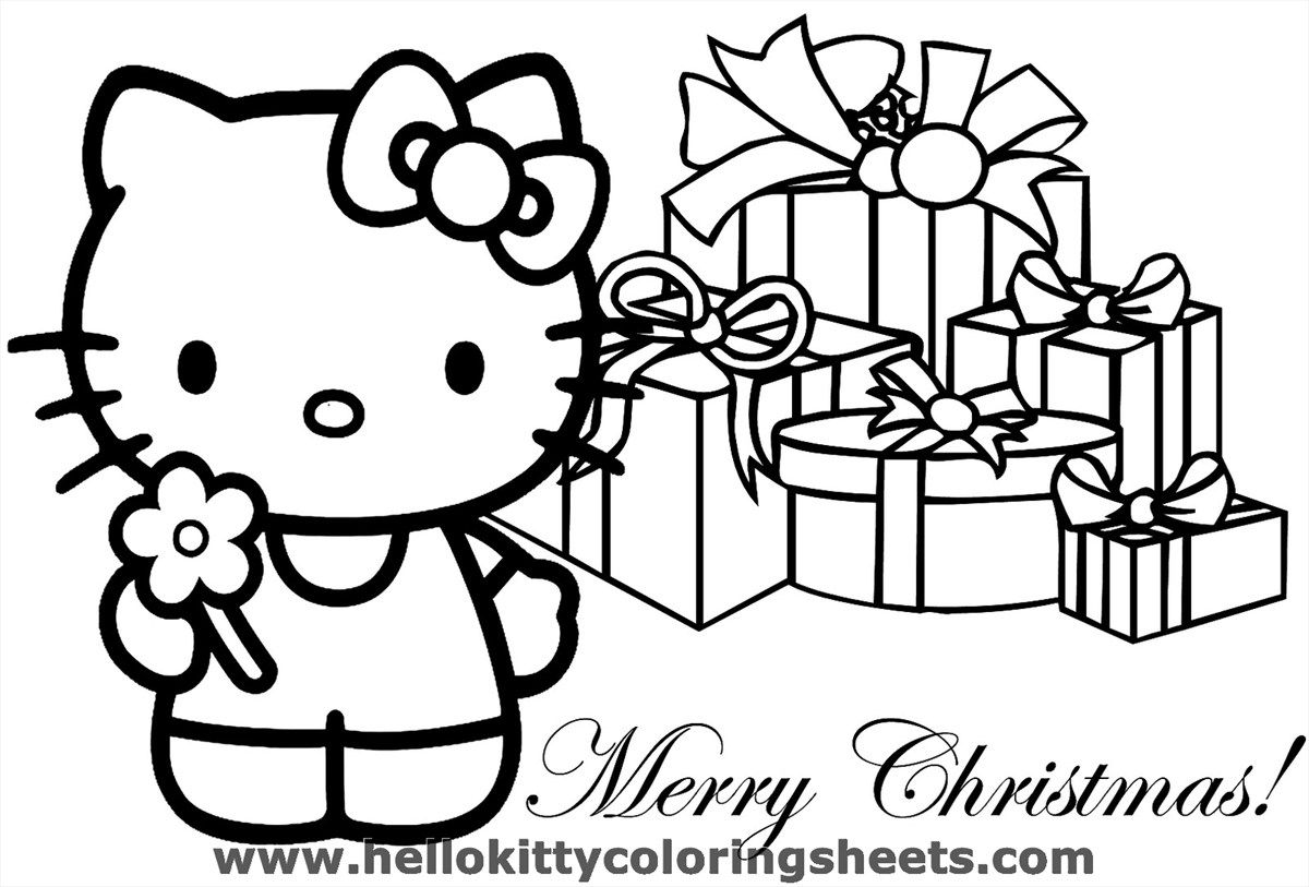 Christmas Kitten Coloring Sheets With You Can Print Sheet Hello Kitty