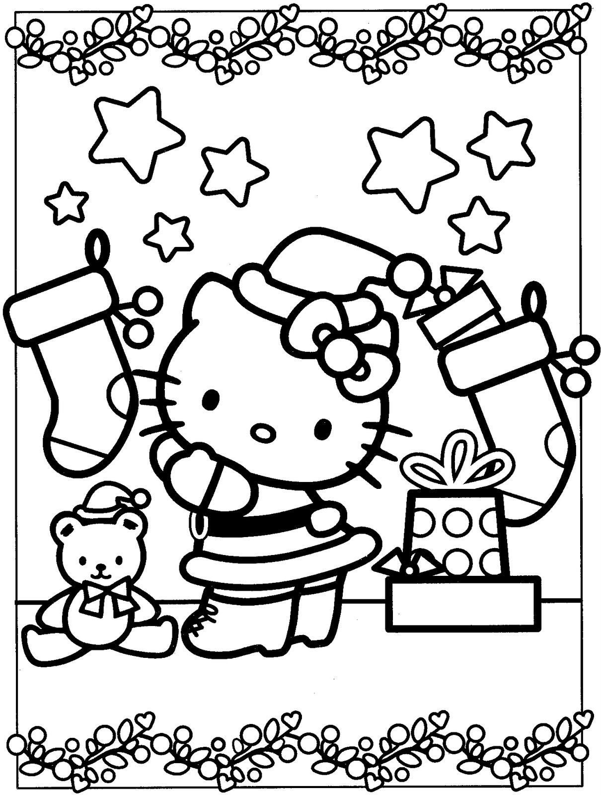 Christmas Kitty Coloring Pages With Chrismast Hello Http Smilecoloring Com