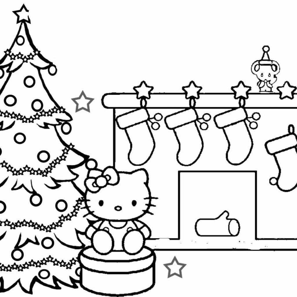 Christmas Kitty Coloring Pages With Hello To Print Great OwlGalliz