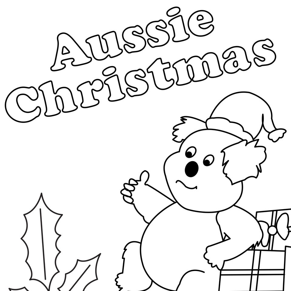 Christmas Koala Coloring Page With Australian Pages For Fun Halloween