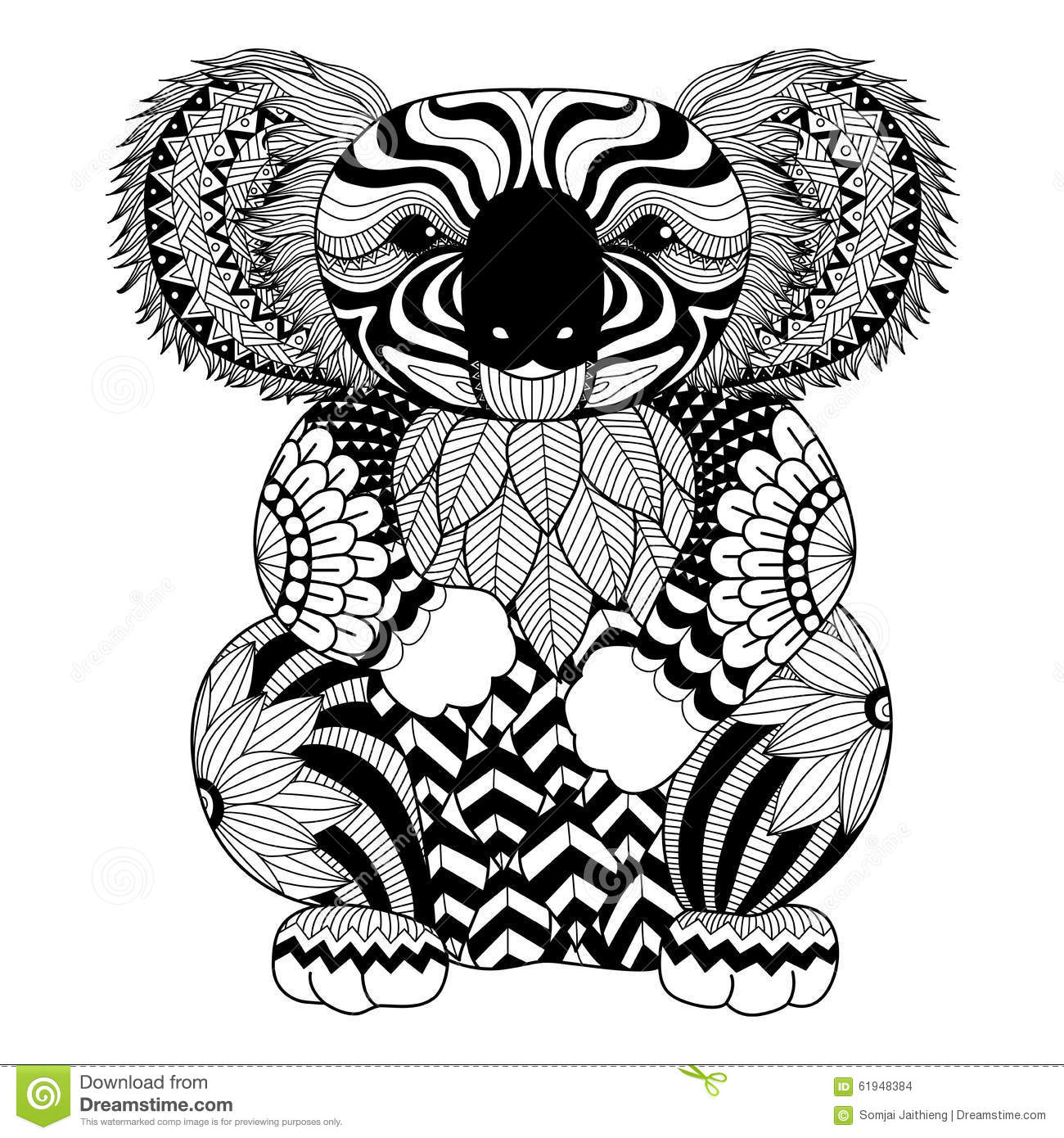 Christmas Koala Coloring Page With Drawing Zentangle For Shirt Design Effect Logo