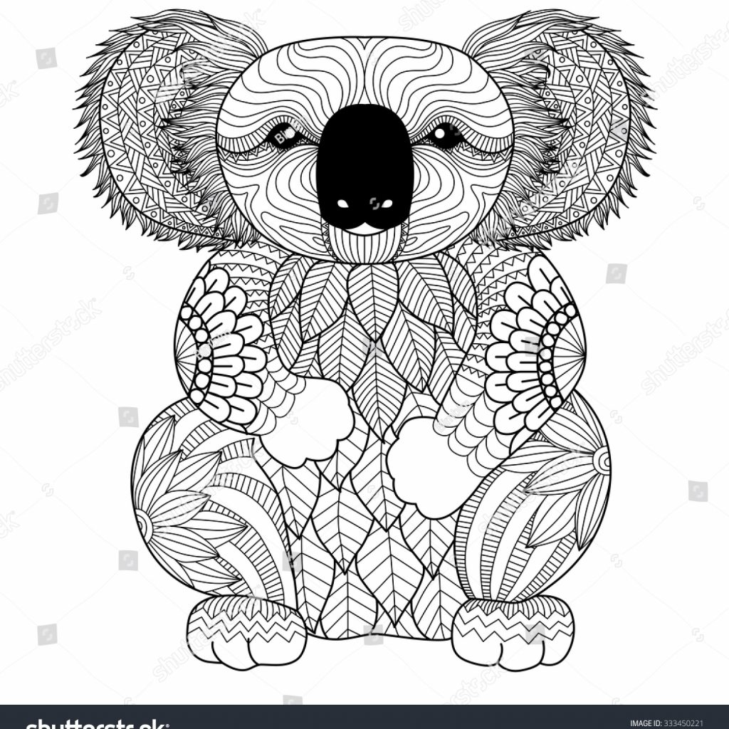 Christmas Koala Coloring Page With Drawing Zentangle Shirt Stock Vector Royalty