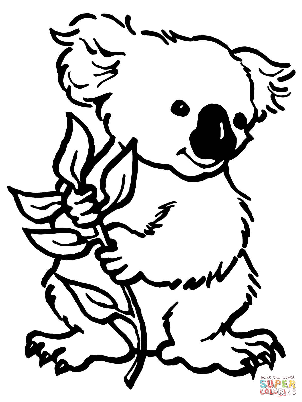 Christmas Koala Coloring Page With Koalas Pages Free