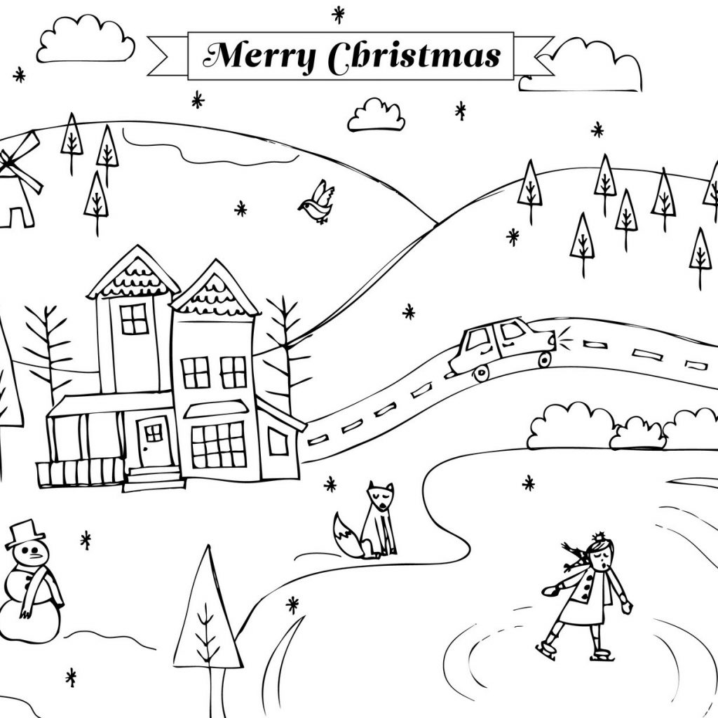 Christmas Landscape Coloring Pages With For Alluring Snow Scene Page Fiscalreform