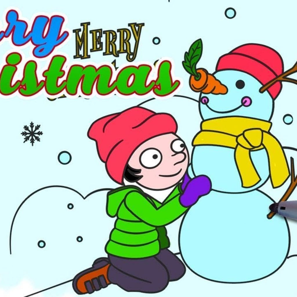 Christmas Landscape Coloring Pages With Kids Make Snowman