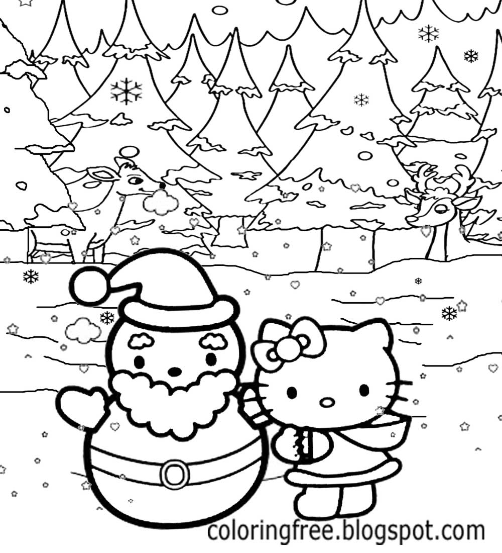 Christmas Landscape Coloring Pages With LETS COLORING BOOK Hello Kitty Sheets Free Cute Printables
