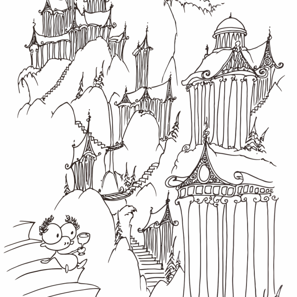 Christmas Landscape Coloring Pages With Page A Monkey On Some Greek Steps Bluebison Net