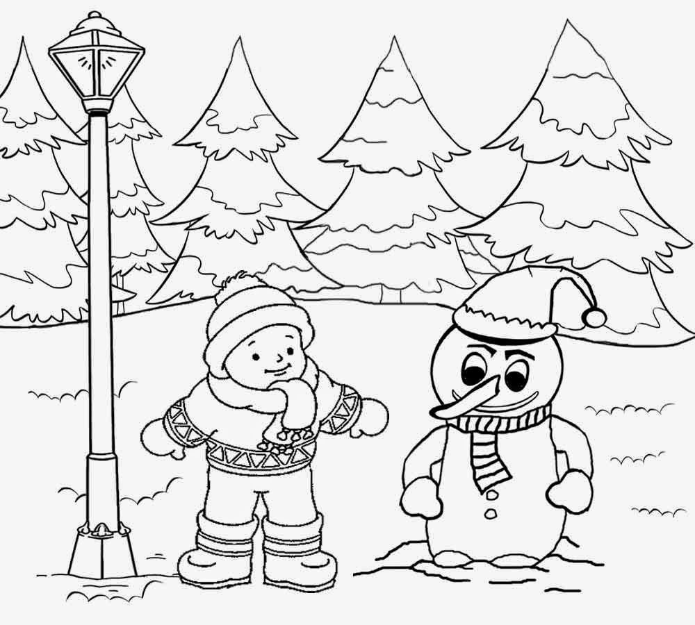 Christmas Landscape Coloring Pages With Winter Google