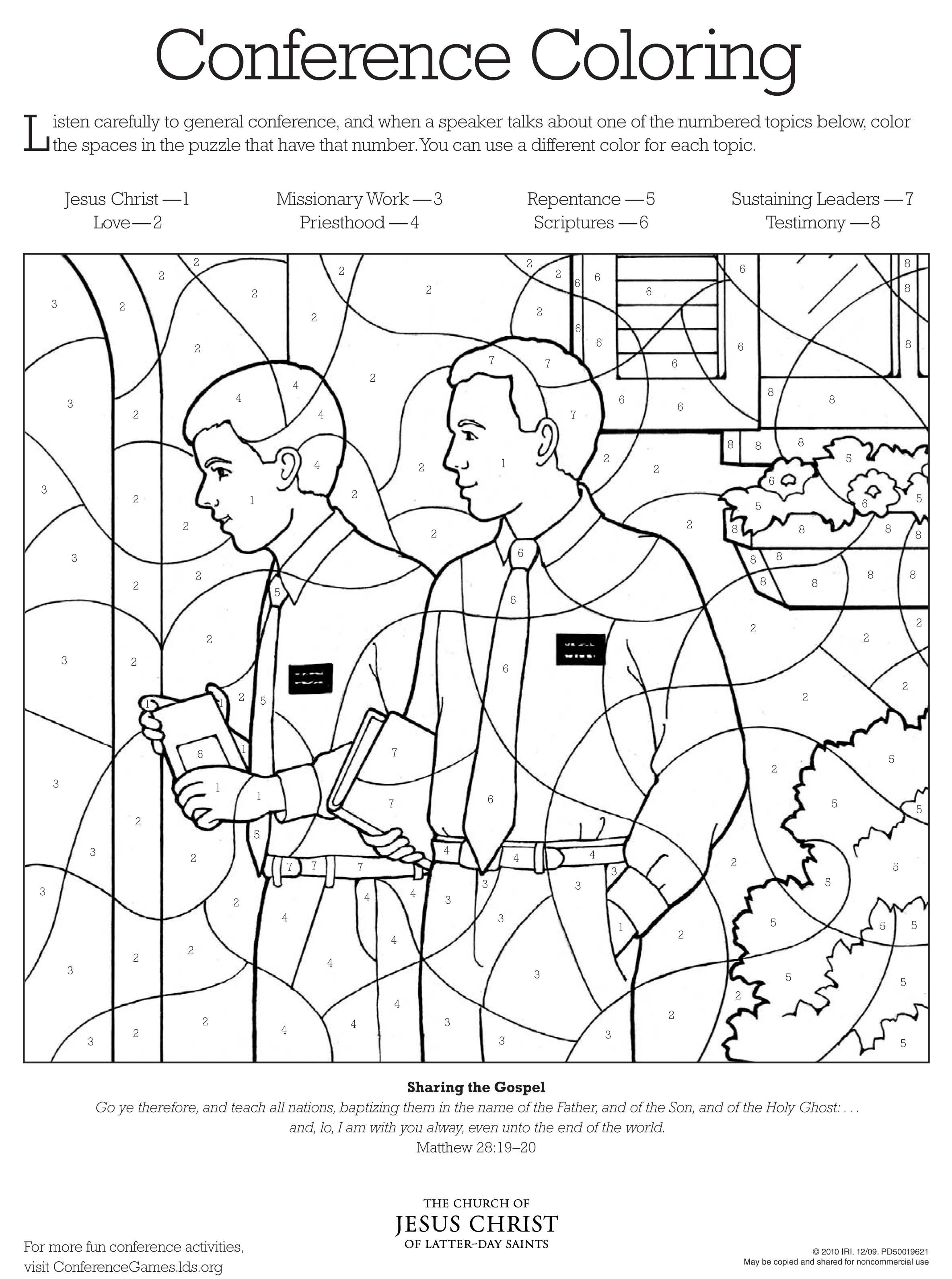 Christmas Lds Coloring Pages With Conference Page LDS Lesson Ideas