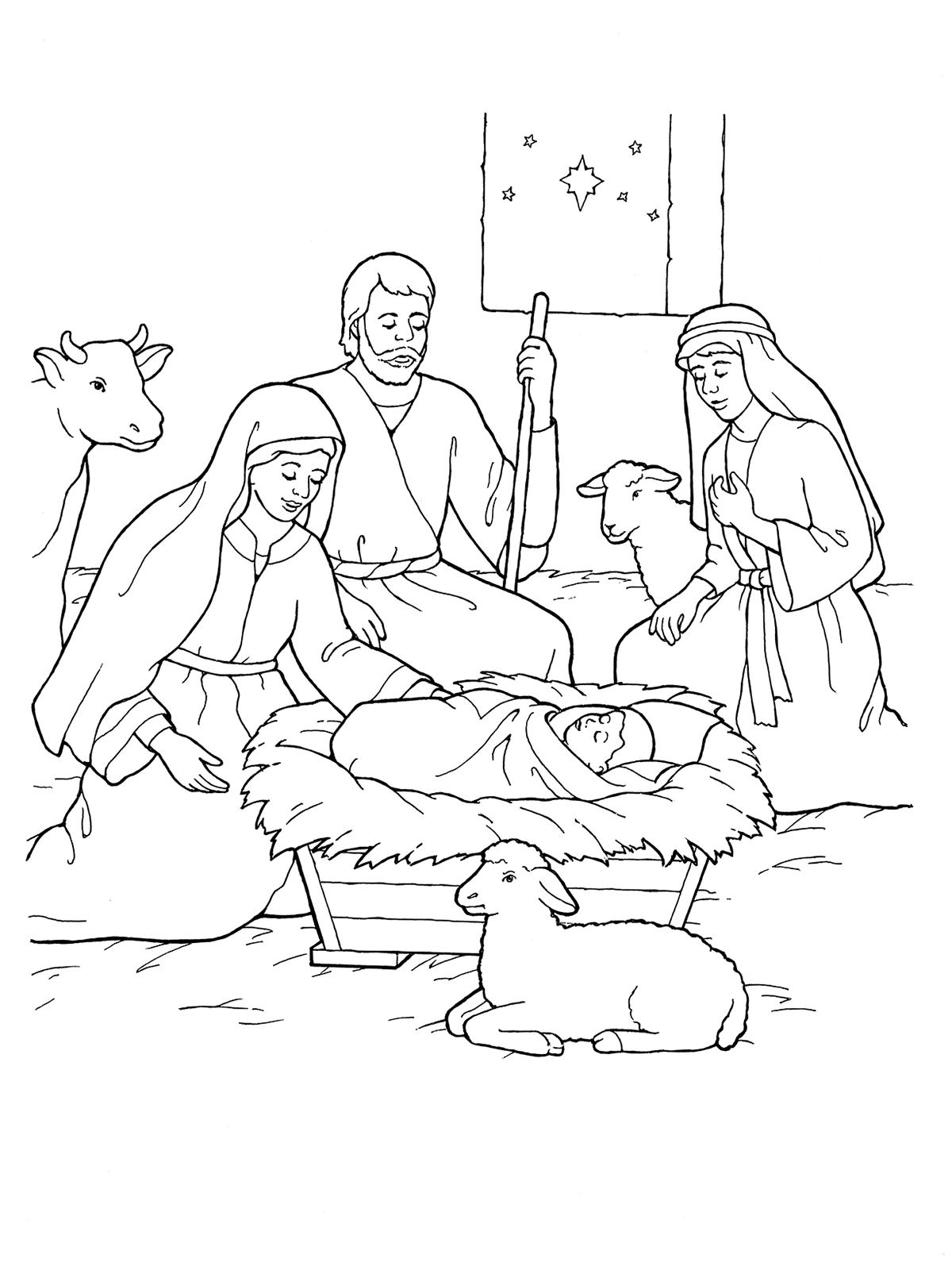 Christmas Lds Coloring Pages With Nativity Mary Joseph Jesus And The Shepherds