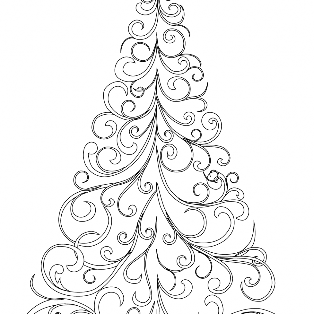 Christmas Leaf Coloring Pages With Swirly Tree Page Free Printable