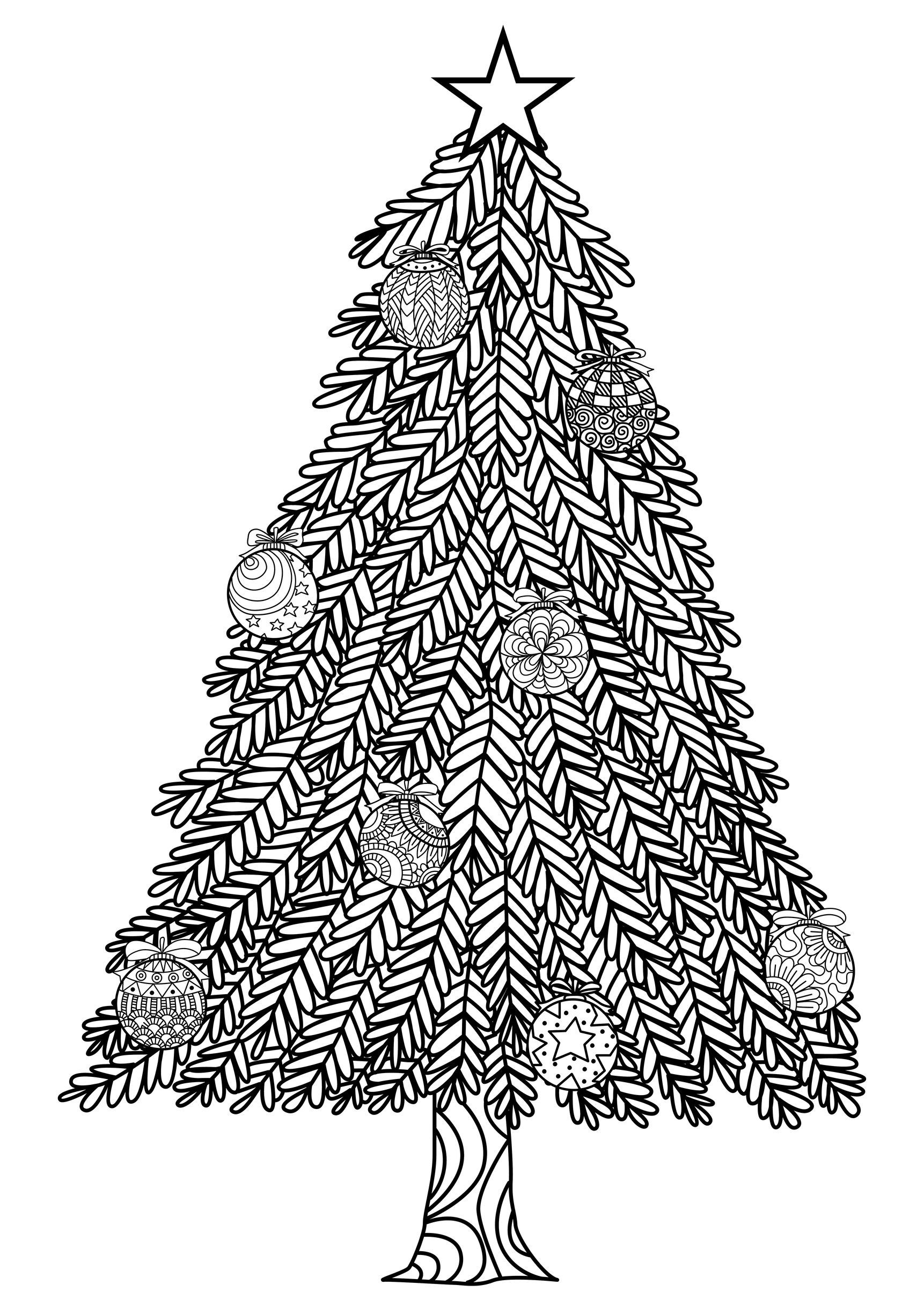 Christmas Leaf Coloring Pages With Tree For Adults Free Books