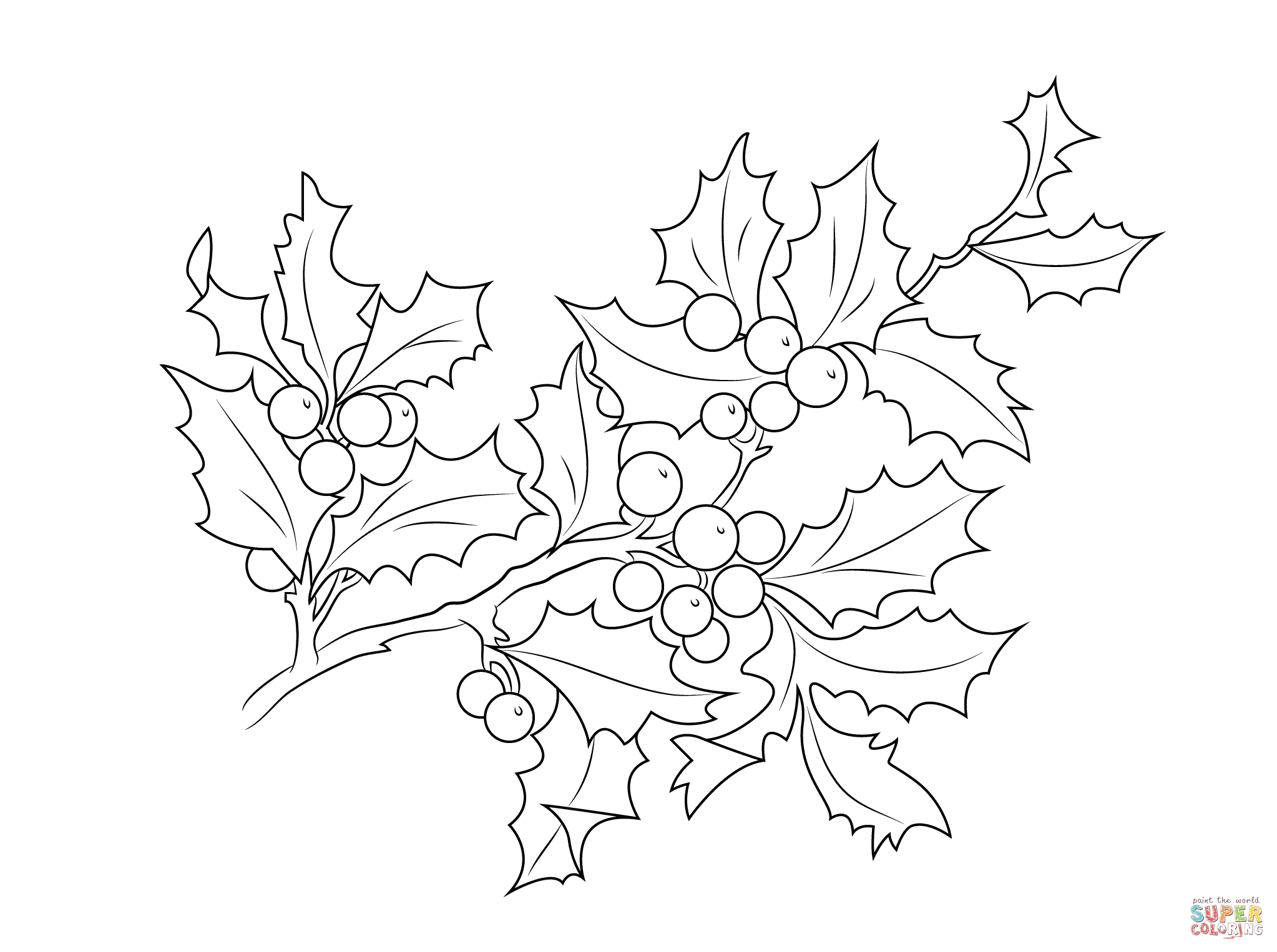 Christmas Leaves Coloring Pages With Holly Berries Page Free Printable