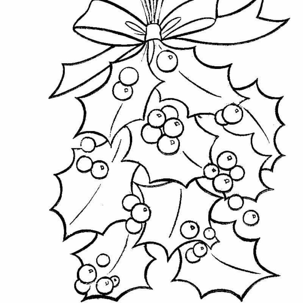 Christmas Leaves Coloring Pages With Holly Bright Red Berries Page Free Printable