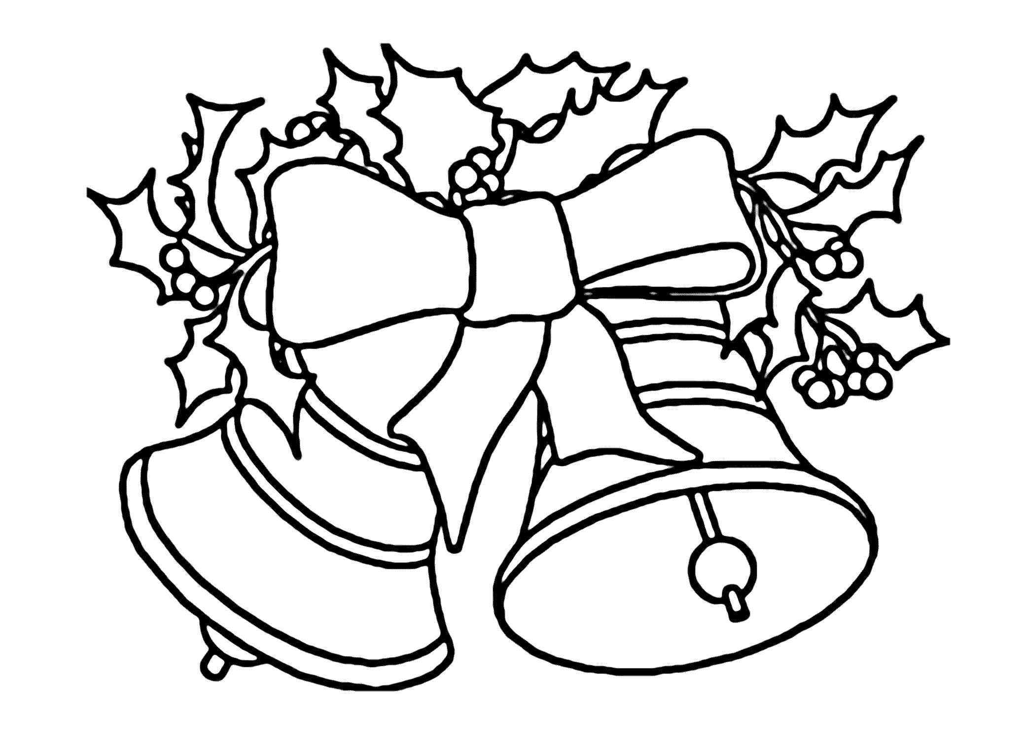 Christmas Leaves Coloring Pages With Xmas Bell Printable Page For Kids