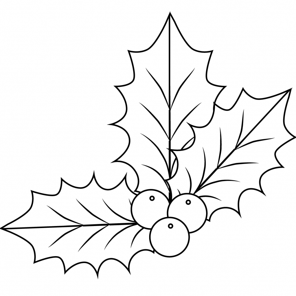 Christmas Leaves Coloring Pages With Xmas Holly Page Free Printable