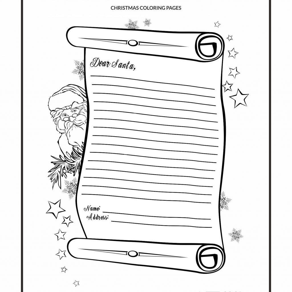Christmas Letter Coloring Pages With Santa Page