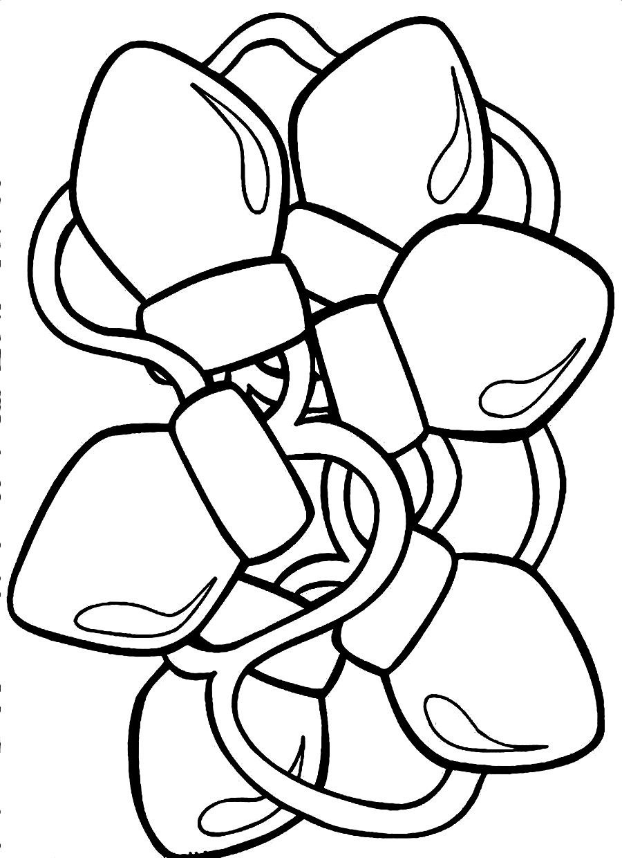 Christmas Light Bulb Coloring Pages Printable With Lights Page