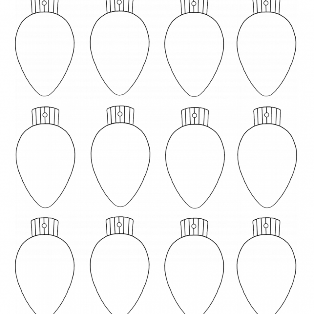 Christmas Light Bulb Coloring Pages Printable With Template Page 2019 Throughout