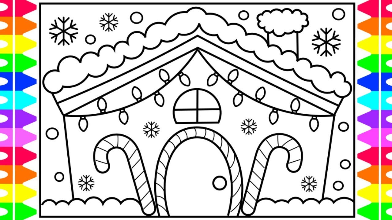 Christmas Light Coloring Pictures With How To Draw A House Step By Lights Decorated