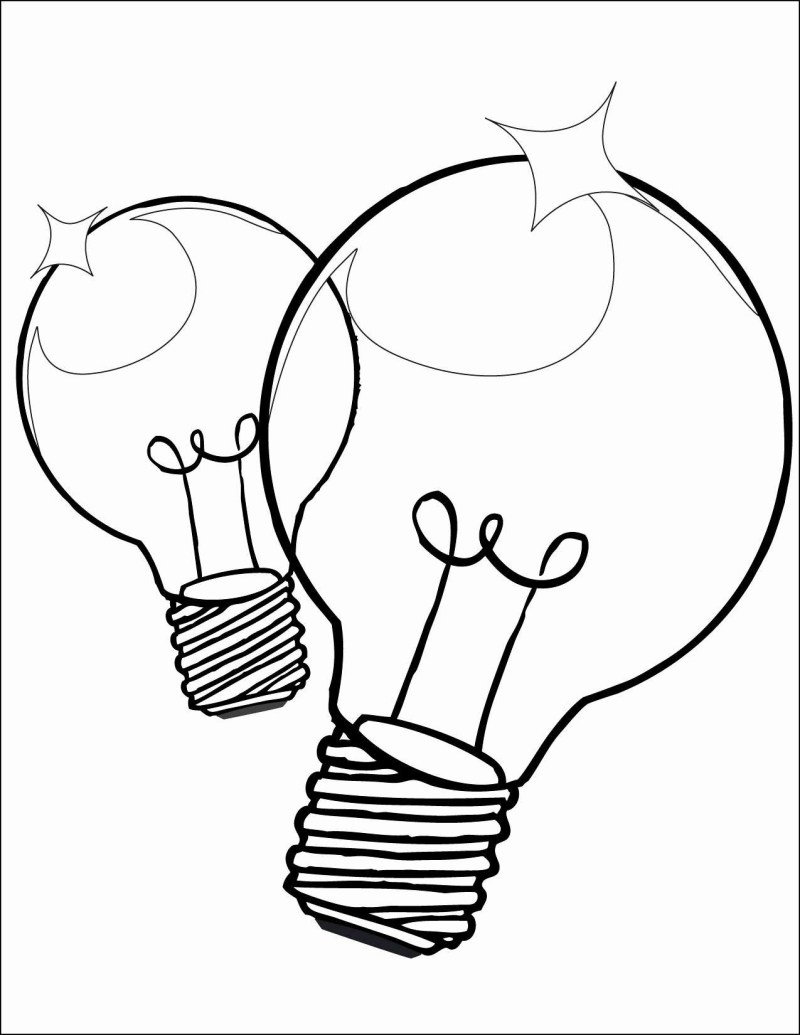 Christmas Lights Coloring Pages Print With Radiant Lines Light Bulb Template Diy