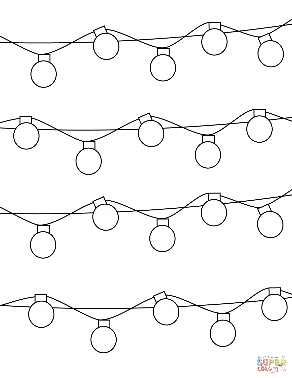 Christmas Lights Coloring Pages Printable With Page Free